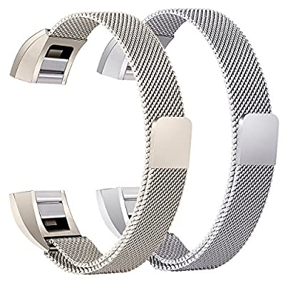 bayite For Fitbit Alta HR and Alta Bands Pack of 2, Replacement Milanese Loop Stainless Steel Metal Bands Women Men Silver and Champagne Gold