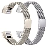 bayite For Fitbit Alta HR and Alta Bands Pack of 2, Replacement Milanese Loop Stainless Steel Metal Bands Women Men, Silver and Champagne Gold 6.7'' - 8.1''