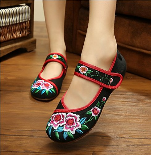 KAFEI Frauen Leinwand Stickerei Tanz chinesische Schuhe erhöhen Sehne unten täglich, 35, Rot