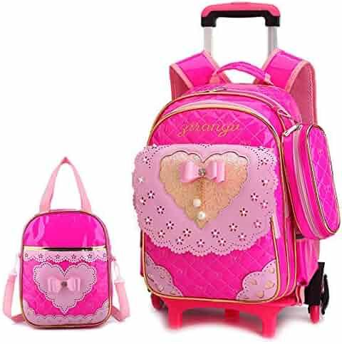 AXDNH Large Capacity Trolley Bag Boy Girl Primary School Waterproof PU  Backpack Detachable Three-Wheeled de12a262b2ee0