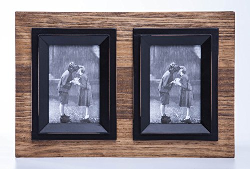 4x6 Brown-Blue Wood Picture Frame with Glass Front - Weathering Wood Finished - 2 Openings - Wall - Glasses Restore Frames