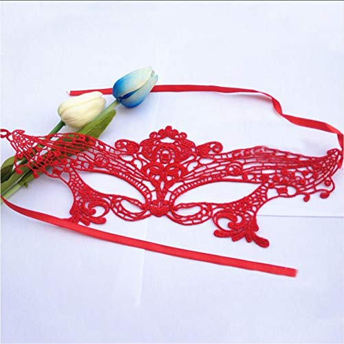 Sdefw Cut Out Eye Half Face Lace Mask Masquerade Ball Carnival Party Dress Costume Halloween Easter Venetian Masquerade Masks,Red