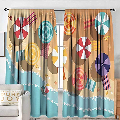 Aerial Rods Star - Petpany Blackout Curtains Beach,Summertime Seacoast with Colorful Umbrellas Stars Flat Design Aerial View Vacation,Multicolor,Rod Pocket Drapes Thermal Insulated Panels Home décor 84