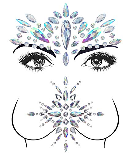 2 Sets Mermaid Face Gems Rhinestone Tattoo Festival Jewels Face Chest Forehead Body Temporary Tattoos Glitter Crystal Tattoos Bindi Breast Chest Body Rhinestone Stickers