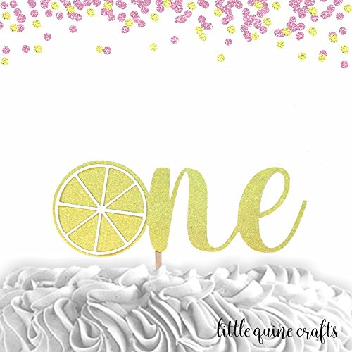 1 pcOne lemon script Gold Glitter Cake Topper for first Birthday Baby girl boy tutti fruity fruit summer cake smash party