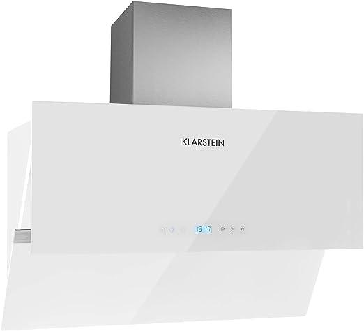 Klarstein Aurea VII campana extractora plana (195 W potencia, capacidad absorción 620m³/h, 90 cm, panel táctil, frontal vidrio, mando a distancia, temporizador) - blanco: Amazon.es: Grandes electrodomésticos