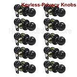 10 Pack Probrico Round Doorknobs Door Knob Lock Keyless Privacy Door Lockset Handle Storage Room Bathroom Oil Rubbed Bronze Door Knob-5763