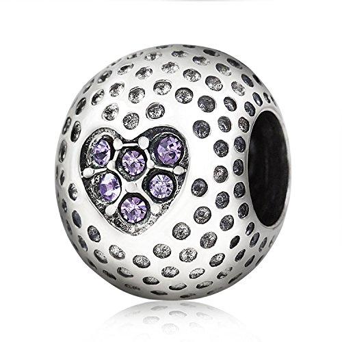 Golf Charm Ball Charm 925 Sterling Silver Charm Sport Charm Love Charm Crystal Charm Heart Charm for Pandora Charms Bracelets ()