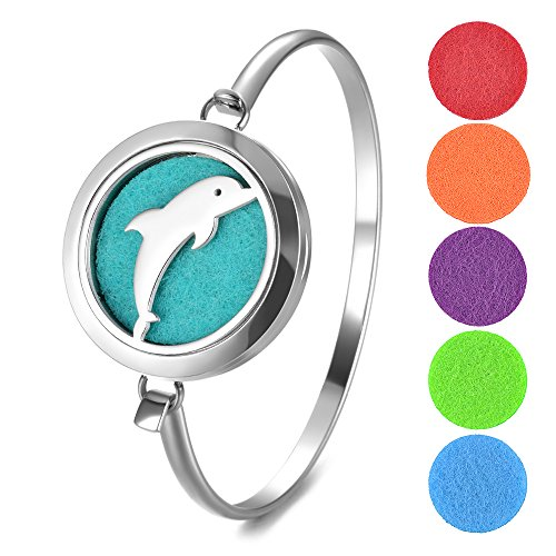 Essential Oils Diffuser Bracelet Aromatherapy Locket Bangle with 5 Color Felt Pads (Dolphin) (Animal Dolphins Bracelet)