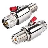 UHF Lightning Arrestor PL-259 Lightning Surge Protector PL259 Plug (UHF Male) to SO239 Socket (UHF Female) Bulkhead for CB Ham Base Antennas