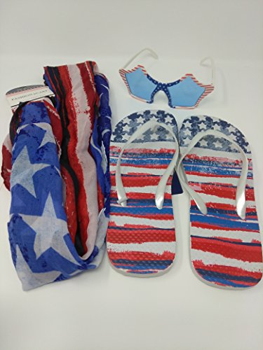 American Patriotic USA Flag United States of America SET OF 3 Flip Flop Scarf and Shades STYLES MAY VARY Size 5/6 - Emoji Sunglasses Coloring Pages
