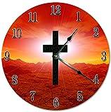 Sugar Vine Art 10.5'' HOLY RED CROSS CLOCK - Living Room Clock - Large 10.5'' Wall Clock - Home Decor Clock