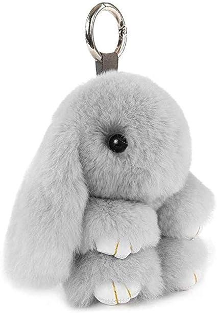 Llavero Bolso Colgante Ganchillo Llave de veh/ículo Peluche de Peluche 15 cm Gris Claro decoraci/ón Peluche Llavero con Forma de Conejo de Peluche