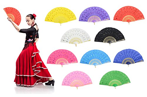 "OMyTea ""Colorful Peacock"" Folding Hand Held Fans Bulk for Women - Spanish / Chinese / Japanese Vintage Retro Fabric Fans for Wedding, Church, Party, Gifts (Mixed Colors, 10pcs)"