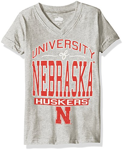 NCAA Nebraska Cornhuskers Children Girls V-Neck Short Sleeve Tee,2T,Heather