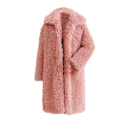 Manteau Rose À Outercoat De Amuster Collier Unie En Mode Col La Coton D'hivermanteau Fourrure Longues Couleur Manches w1xHBqS
