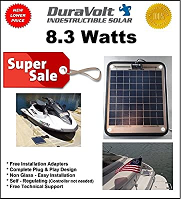DuraVolt Marine Solar Panel Battery Charger, 8.3 Watt