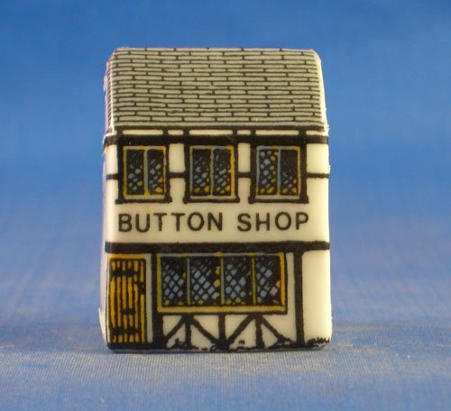 (Porcelain China Collectable Thimble - Miniature House Shape - Button Shop)