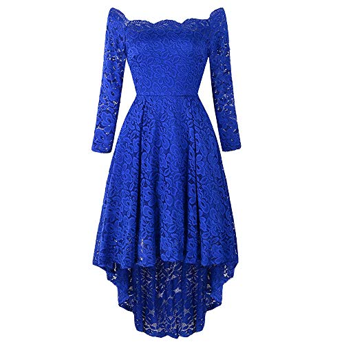 (Leomodo Ladies'Dress with One Shoulder High and Low Lace)