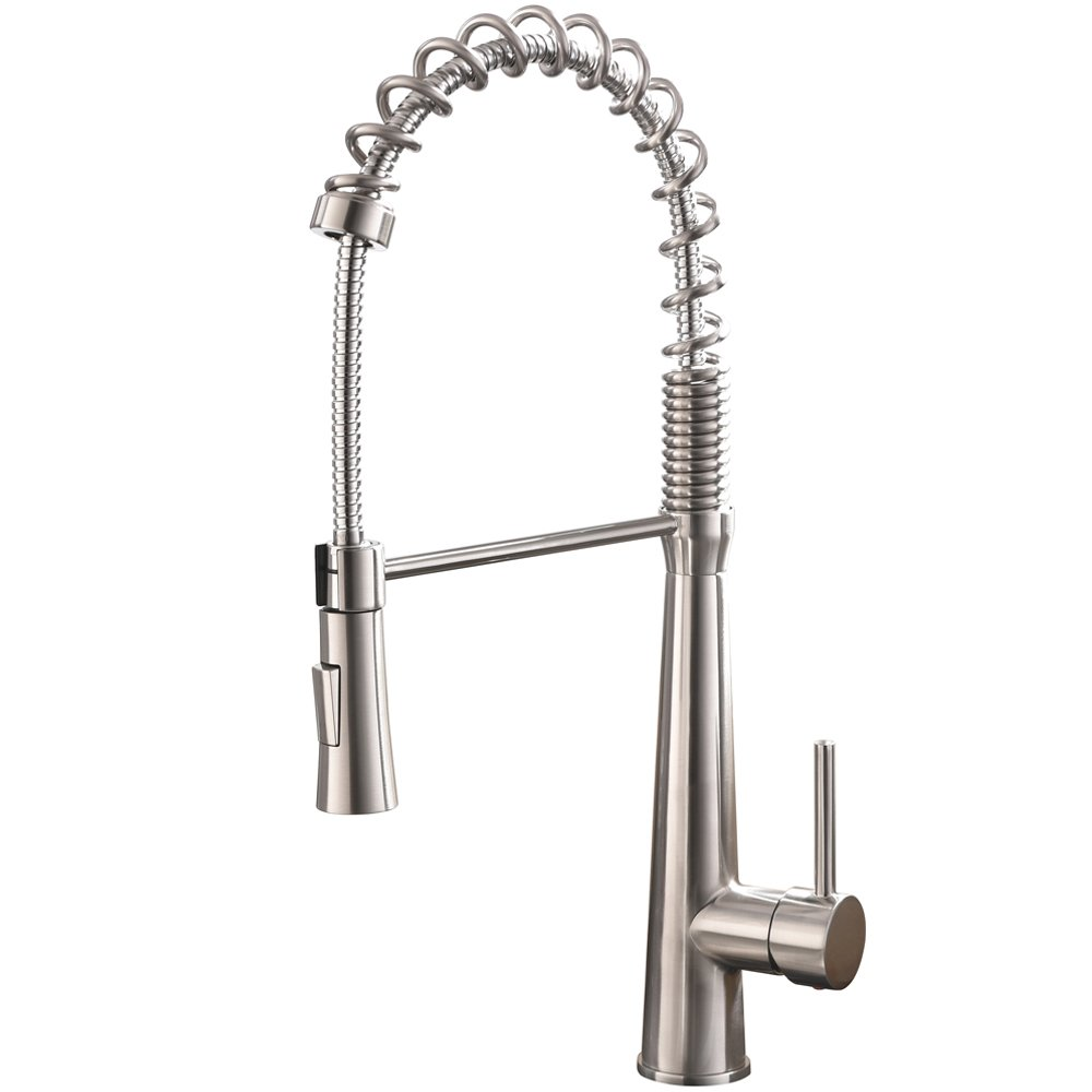 Hotis Commercail High Arch Single Handle Pull Out Single Handle Prep Sink Stainless Steel Pull Down Sprayer Kitchen Sink Faucet,Brushed Nickel Kitchen Faucets