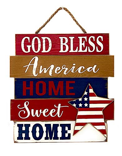 (Gerson Patriotic American Rustic Wood Decor Art Wall Front Door Display God Bless America Home Sweet Home (14