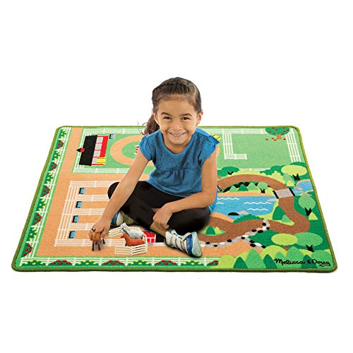 Horse Carpet - Melissa & Doug Round the Ranch Horse Activity Rug With 4 Play Horses and Folding Fence (39 x 36 inches)