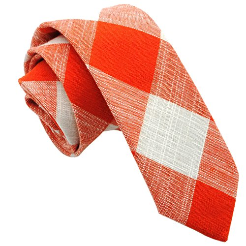 Casual Skinny Cotton Necktie Plaid Slim Ties 2(1/2) :Carrot/White TC016