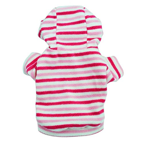 e Pink Stripe with Hood Teddy Pet Clothing (XS) ()