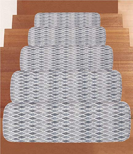 Abstract Coral Fleece Stair Treads,Stair Tread Mats,Square Shaped Lines Dots Wavy Stripes Spiral Spots Floral Petals Artful Illustration,(Set of 5) 8.6