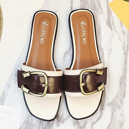 Ularma Zapatos sandalias Peep-toe baja talón romana de las mujeres blanco