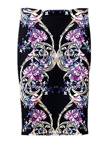 Fendue Tendance Floral Haute Black3 Imprimer Fit Jupe Au Genou Jupe ElGant Taille Vintage Skirt Jupe Femme Slim Jupe Femelle Haililais 8gwaTqOx