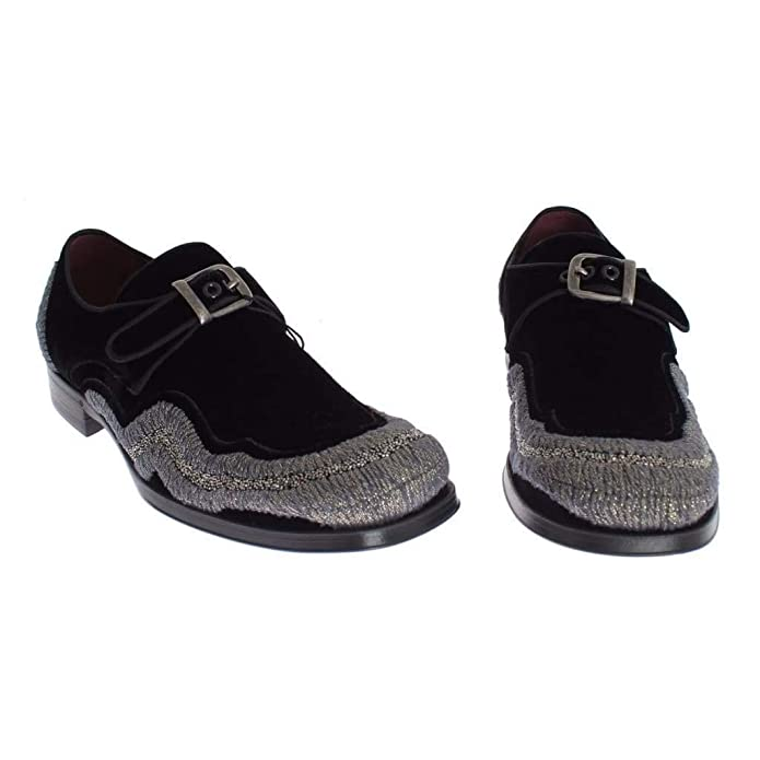 ed4eead6f727f Amazon.com: Dolce & Gabbana Black Velvet Gray Sequined Baroque Shoes ...