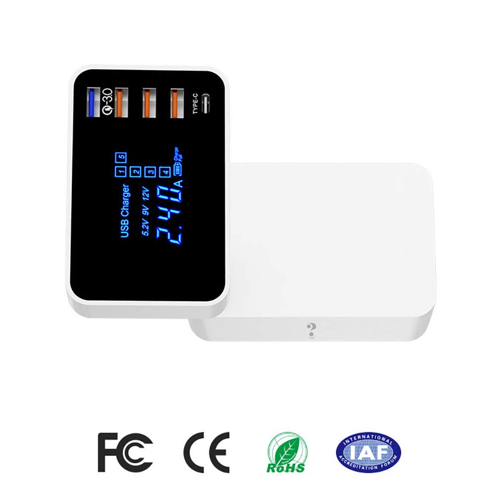 YTBLF QC3.0 Fast Charger, 5USB Port Mobile Phone Charger, 110-240V Wide Voltage, LED Display, Meet The Charging Requirements of All USB Devices