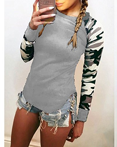 Mujer Camisetas De Manga Larga Camuflaje Camisa De Sudaderas Con Capucha Tops Gris