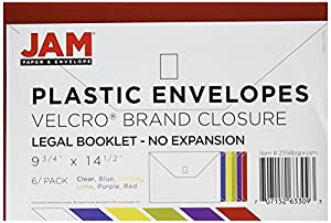 """JAM Paper Plastic Envelope Folders with VELCRO Brand Closure - Legal Booklet - 9 3/4"""" x 14 1/2"""" - Assorted Colors - 6/pack hot sale"""