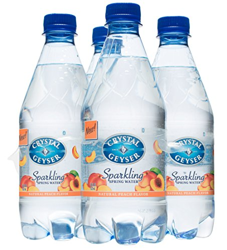 Crystal Geyser Sparkling Spring Water, Peach Flavor, 18Ounce. PET Bottles , No Artificial Ingredients, Sweeteners, Calorie Free (Pack of 24) ()