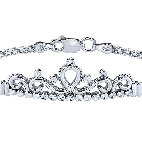 Guliette Verona Sterling Silver Princess Crown Bracelet (Rhodium Plated)