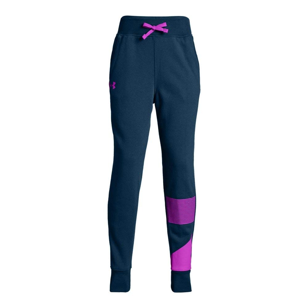 Under Armour Girls Rival Jogger, Techno Teal (490)/Fluo Fuchsia, Youth X-Small