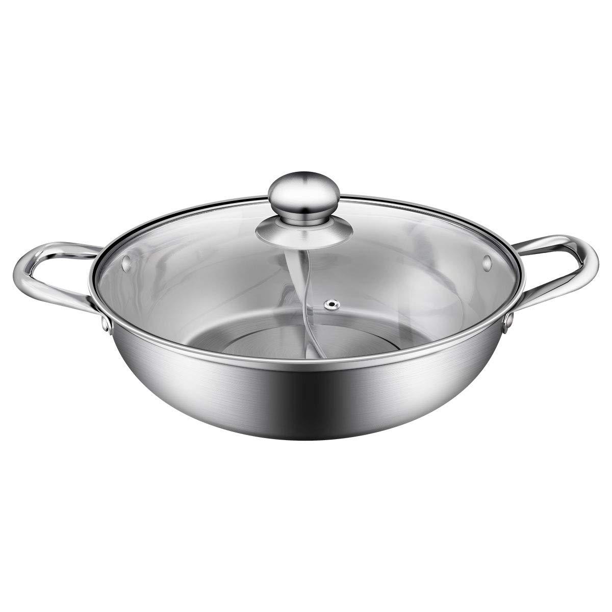 BESTONZON 1pc Multifunctional 304 Stainless Steel Shabu-shabu/Hot Pot With Glass Lid,Non-stick Cooking Pots(30cm)