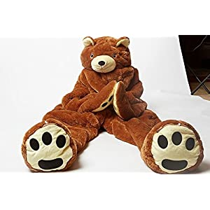 Snoozzoo for Children up to 54 inches Tall. The All New Children Brown Bear Sleeping Bag.