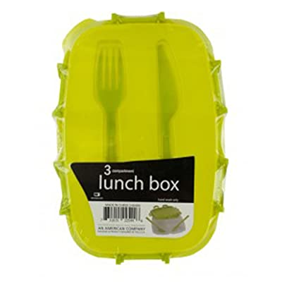 "Kole HA404 Plastic Lunch Box with Fork and Knife Kitchen Essentials, 9.25"" x 2.5"" x 6.5"", Transparent Green: Dining & Entertaining"