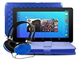"Ematic 10"" Android 5.1 (Lollipop), Quad-Core 16GB Tablet with Keyboard Folio Case and Headphones, Blue"
