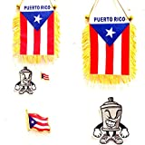 3pc Boricua Automobile set Puerto Rico flags Classic Puerto Rican mini flag for car interior and Puerto Rico lapel pin plus a limited edition Mr. Mad Can auto or Clothing patch