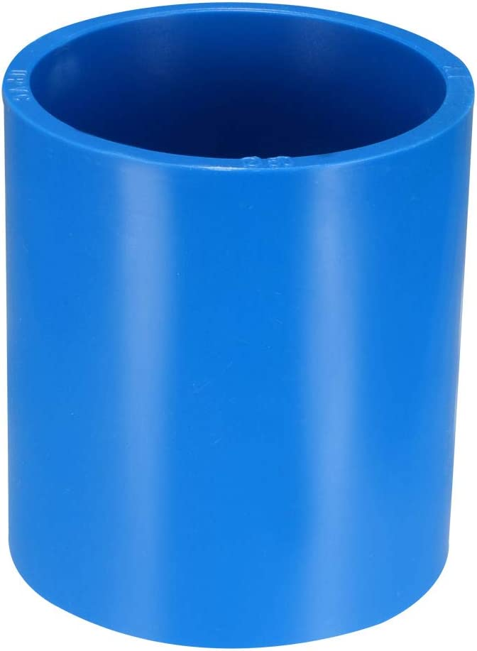 uxcell 50mm Straight PVC Pipe Fitting Coupling Adapter Connector Blue 2 Pcs