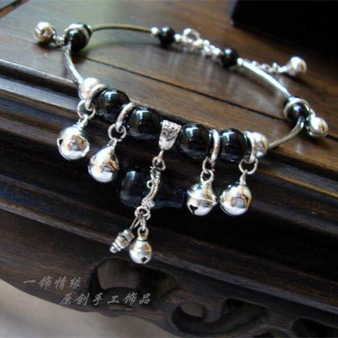 (Love Decorated Original Hoist cat Bohemian Miao Silver Bells 146 Handmade Jewelry Bracelets Bangle (Anklet Default Length Onyx)