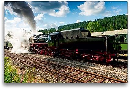 Premium - Lienzo 75 cm x 50 cm horizontal, diseño de vapor 52 7596 en estación de museo de Seebrugg (imagen sobre bastidor), imagen sobre lienzo auténtico, impresión en lienzo, tecnología Calvendo