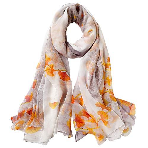 STORY OF SHANGHAI Bufanda de Seda Mujer 100% Seda Estampado Floral Colorido Gran Bufanda Manton Ultraligero Transpirable Elegante 175 110 CM