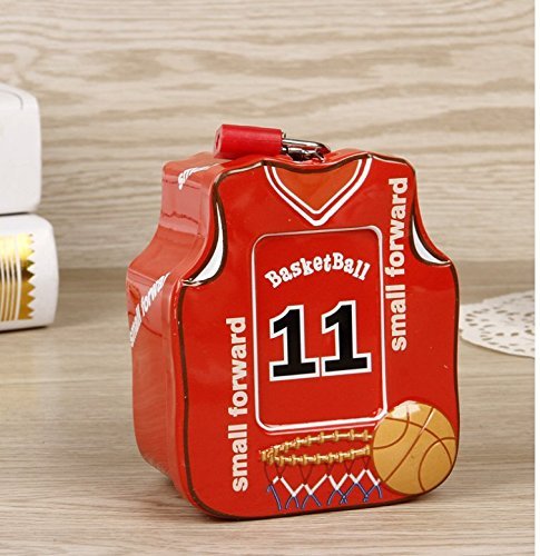 Polymer Mini Save Money Bank Basketball Shirt Piggy Bank Tin Storage Box With Lock (Red) (Mini Basketball Bank)