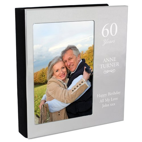 - Gift Cookie Personalized Engraved Silver Photo Album - Birthdays, Anniversary, Retirement