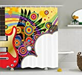 Music Shower Curtain by Ambesonne, Electric Guitar with Colorful Spirals Circles Rock and Roll Pop Rhythm Graphic Design, Fabric Bathroom Decor Set with Hooks, 84 Inches Extra Long, Multicolor